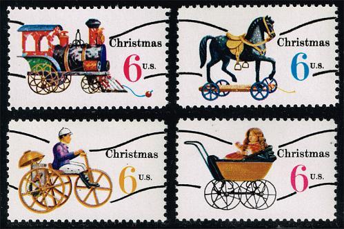 US #1415a-1418a Christmas Toys Precanceled Set of 4; MNH (5Stars) |USA1418aset-03