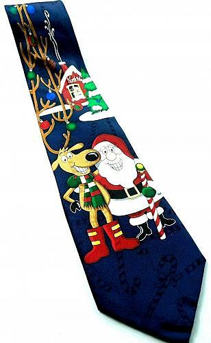 Santa Claus Reindeer Antlers Ornaments North Pole Christmas Novelty Silk Tie