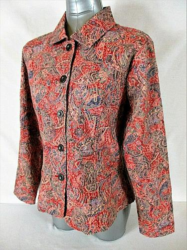 ANALOGY womens Large L/S Multi color TEXTURED button down jacket (B4)