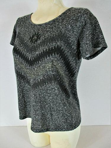 DAYTRIP womens Medium S/S gray black BOW BACK stretch top (E)