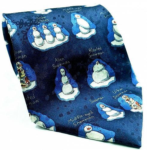 Alien Snowman Urban Snowman Bloated Snowman Funny Christmas Novelty Necktie