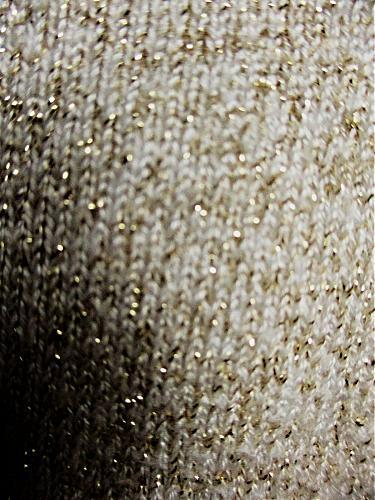 CASUAL CORNER womens Large L/S BEIGE GOLD METALLIC LIGHT SWEATER (A3)P