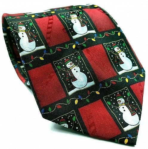 Hallmark Yule Tie Snowman All Over Print Christmas Lights Novelty Necktie