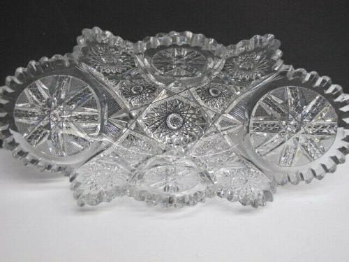 American Brilliant Period hand Cut Glass oblong shape dish ABP