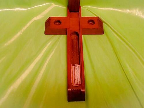Vintage Catholic Religious INRI Wooden Last Rites Crucifix Cross Altar-Candles
