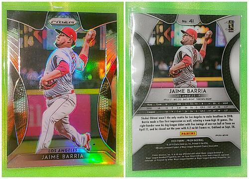 MLB JAMIE BARRIA LOS ANGELES ANGELS 2019 PANINI PRIZM REFRACTOR #41 MNT