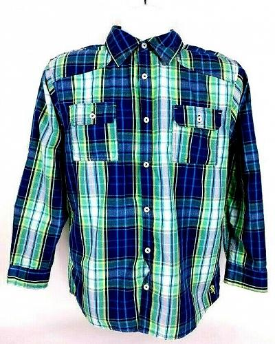 English Laundry Men's Shirt 18 Casual Button Down Plaid Cotton Long Sleeve