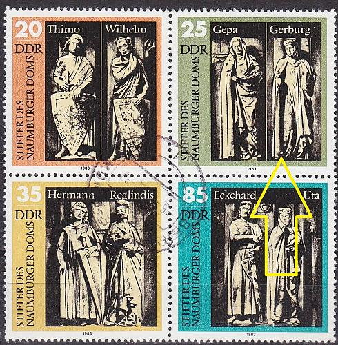 GERMANY DDR [1983] MiNr 2808 4er F04 ( OO/used ) [02] Plattenfehler