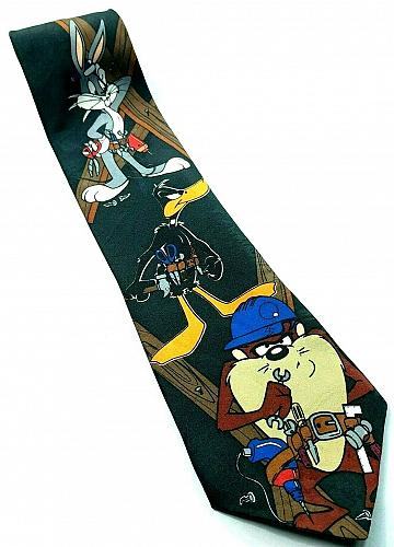 Looney Tunes Construction Building Tools Bugs Daffy Taz Novelty Tie