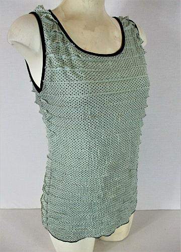 CAROLE LITTLE womens Small sleeveless green black TIERED stretch top (H)