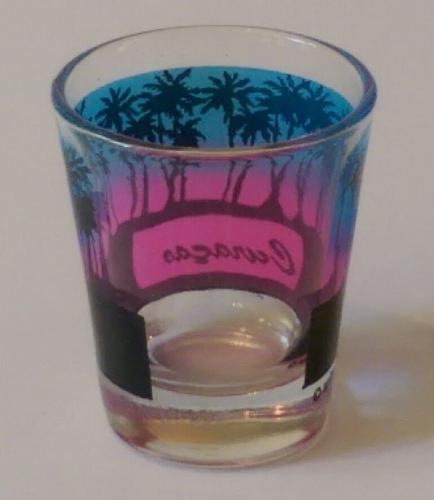"""Curacao Blue & Pink Palm Trees 2.25"""" Collectible Shot Glass"""