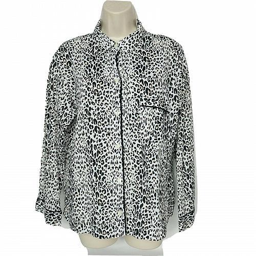 Victorias Secret Button Down Shirt Size Medium Black White Tan Leopard Print