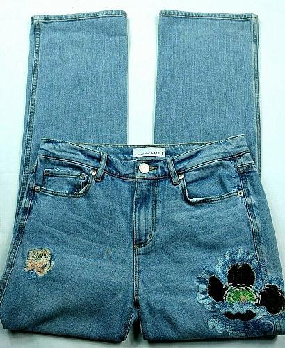 Loft Womens Vintage Straight Jeans Size 0 Embroidered Floral Medium Wash Denim