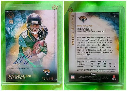 NFL Rashad Greene Jacksonville Jaguars Autographed 2015 Topps Valor RC/800 Mint