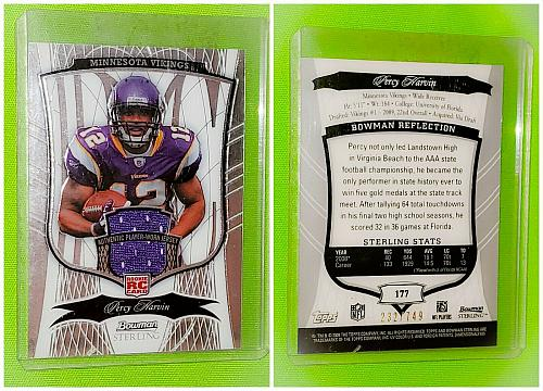 NFL Percy Harvin Minnesota Vikings 2009 Bowman Sterling Game-worn Jersey RC /749