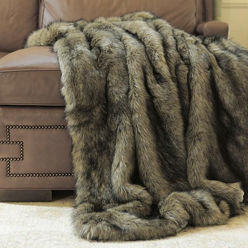 Throw Blanket Tawny Faux Fur Lounge Couch Sofa Bed Accent Decor Wild Mannered