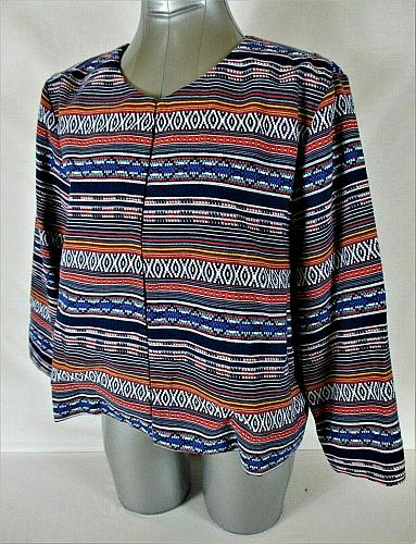 LIZ CLAIBORNE womens Large 3/4 sleeve multi color CROPPED jacket (B4)