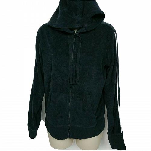 Tracy Anderson for G.I.L.I. Baby Terry Zip Front Hoodie Size Small Black