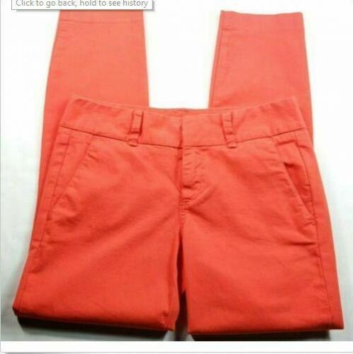 J Crew Women's Andie Ankle Chino Pants Size 2 Solid Neon Coral