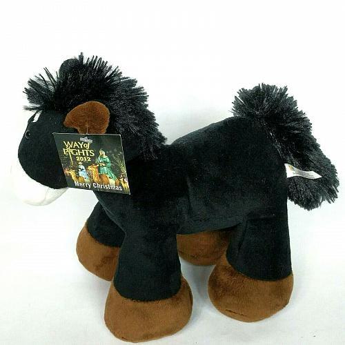 "NWT National Shrine Way Of Lights Christmas Black Horse Plush 2012 9.5"""