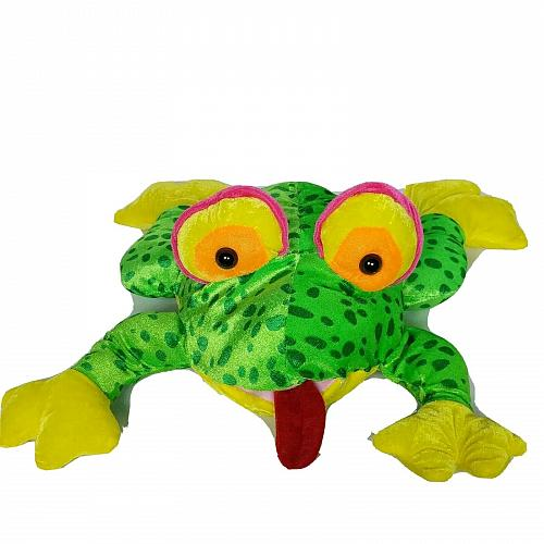 """Green Spotted Frog Sticking Out Tongue Plush Stuffed Animal 14"""""""