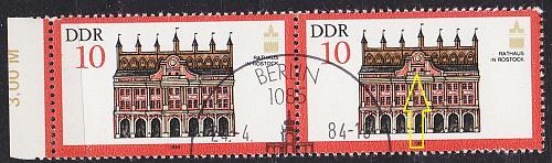 GERMANY DDR [1984] MiNr 2869 F22 ( O/used ) [01] Architektur Plattenfehler