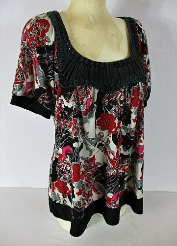 GITANO womens Sz 14W S/S red black white BEADED BRAIDED neck stretch top (B2)