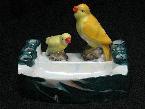 Vintage Porcelain Bird and Baby Figural Ashtray Snuffer Japan Lustreware