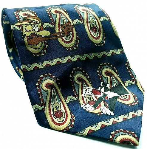 Looney Tunes Mania Bugs Taz Sylvester Daffy Elmer Paisley Striped Novelty Tie