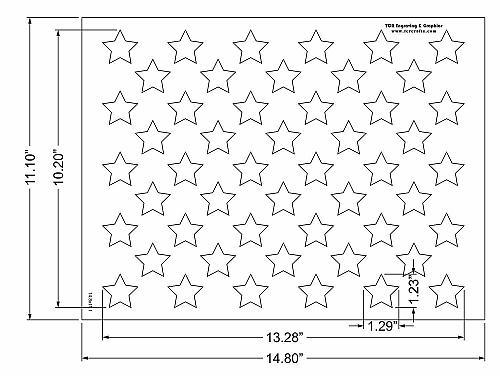 """50 Star Field Stencil 14 Mil -14.8""""W x11.1""""H - Painting /Crafts/ Templates"""