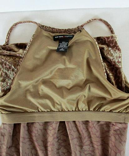 NEW YORK & COMPANY womens Small sleeveless brown COWL NECK soft stretch top (R)