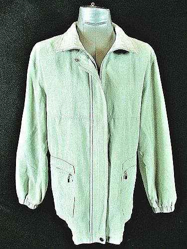 GALLERY womens Large L/S light green faux SUEDE full zip fully LINED jacket (B3)
