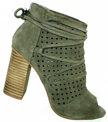 Very Volatile Womens Kalio Gray Suede Leather Perforated Peep Toe Booties 7 M
