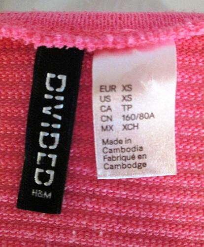 DIVIDED BY H & M womens XS LONG SLEEVE PINK STRETCH TOP (C)