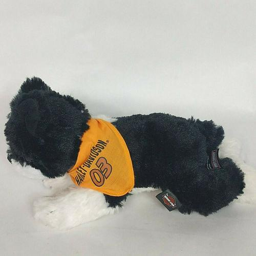 Harley Davidson Motorcycle Dog Black White 03 Bandana Plush Stuffed Animal 11""