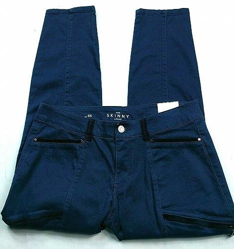 White House Black Market Womens Curvy Skinny Ankle Pants 4S Blue Zipper Pockets