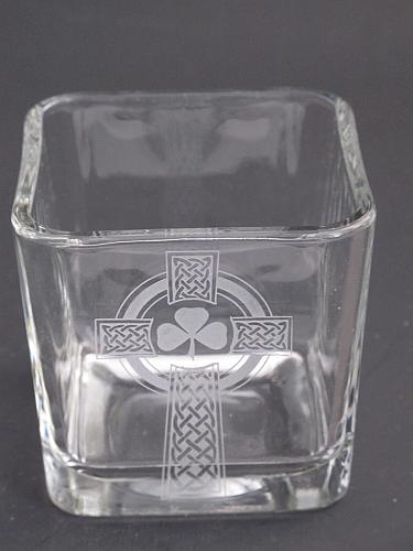 Glass candle votive, Celtic shamrock cross gift Can be customized