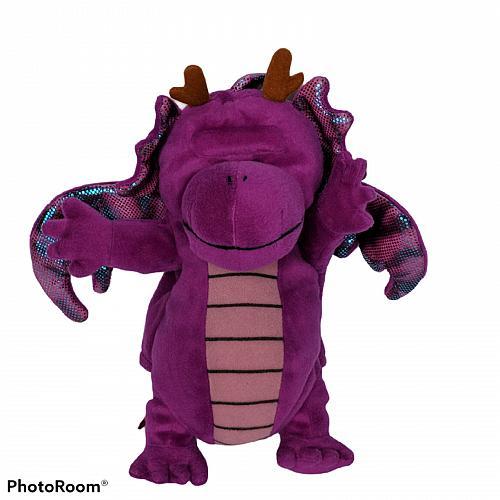 "Purple Dragon Hand Puppet Mythical Creature Plush Stuffed Animal 11.5"""