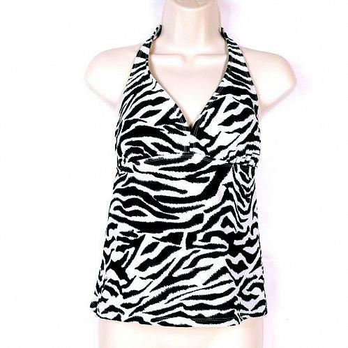 Catalina Women's Halter Bikini Swimsuit Top Size Small Zebra Print