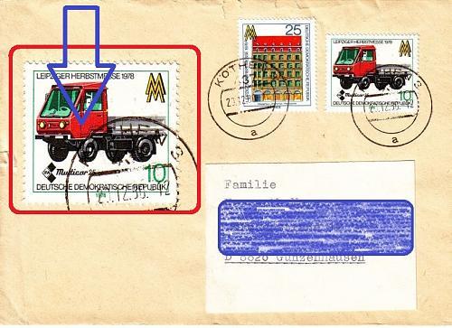 GERMANY DDR [1978] MiNr 2353 F 10 ( Brief ) Plattenfehler