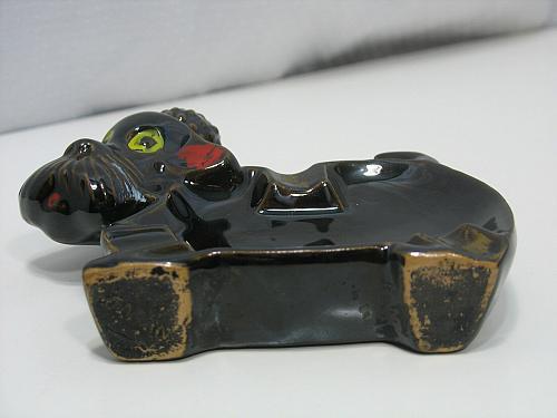 Shafford Redware Black Poodle Dog Ashtray Vintage Smoker Japan