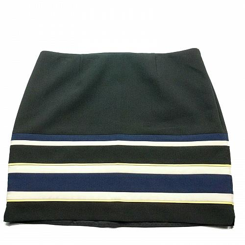 White House Black Market Petites A Line Skirt 14P Striped Black Blue White