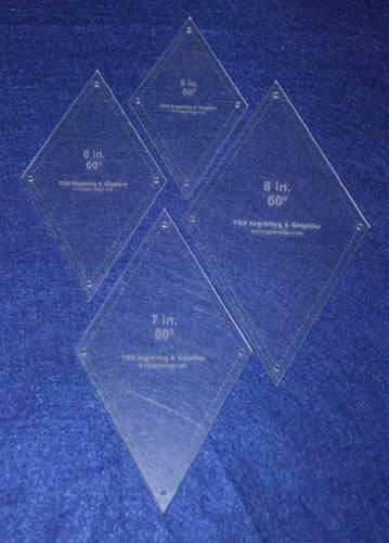 """Diamond Templates 5"""", 6"""", 7"""", 8"""" - Clear 1/8"""" 60 Degree w/ Guideline Holes"""