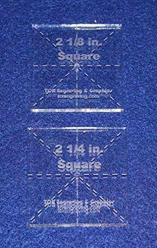 "Square Templates. 2 Piece Set of 2 1/8"" & 2 1/4"""" - No Seam -Clear ~1/4""- Postag"