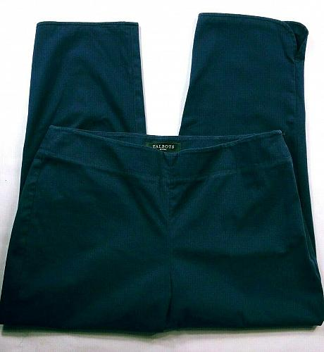 Talbots Women's Petite Capri Pants Size 6P Solid Blue Stretch Side Zip Cropped