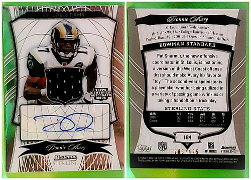 NFL Donnie Avery St Louis Rams Autographed 2009 Bowman Sterling Jersey /425 MNT