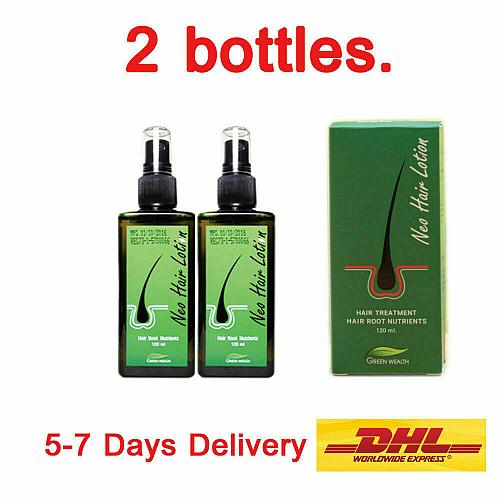 2 Bottle Neo Hair Lotion Green Wealth Prevent Hair Loss, Hair Growth Root 120 ml