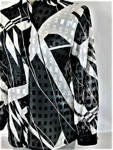 NOTATIONS womens Small L/S BLACK WHITE SHEER BUTTON DOWN TOP BLOUSE (O)M