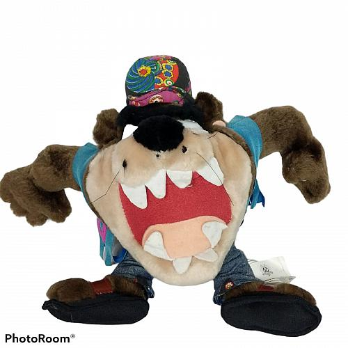 "Looney Tunes Taz Tasmanian Devil Hippie Peace Sign Plush Stuffed Animal 1998 12"""