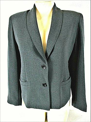 GARFIELD & MARKS womens petite Sz 4 L/S dark gray 2 button LINED jacket (A8)P